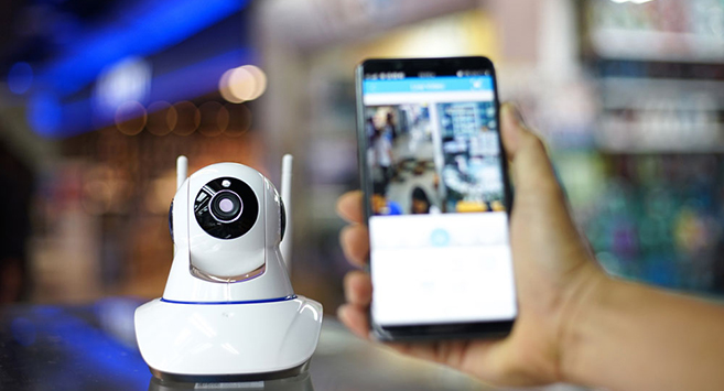 security camera connected to smartphone